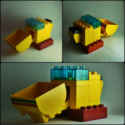Lego Duplo front loader collage